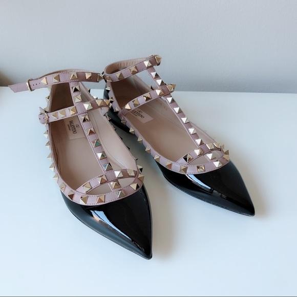 b1fbfe5b6c133 Valentino Shoes | Rockstud Caged Flats Black Patent | Poshmark